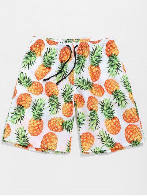 women Casual Pineapple Shorts - DARK ORANGE S Mobile
