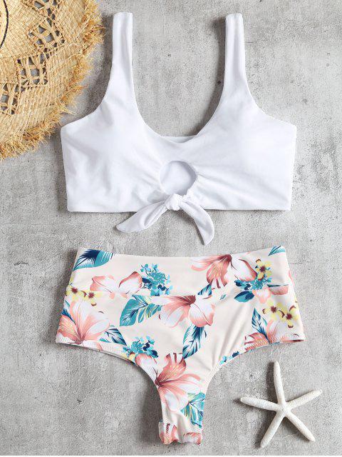 Conjunto de bikini anudado con pliegues florales anudados - Blanco M Mobile