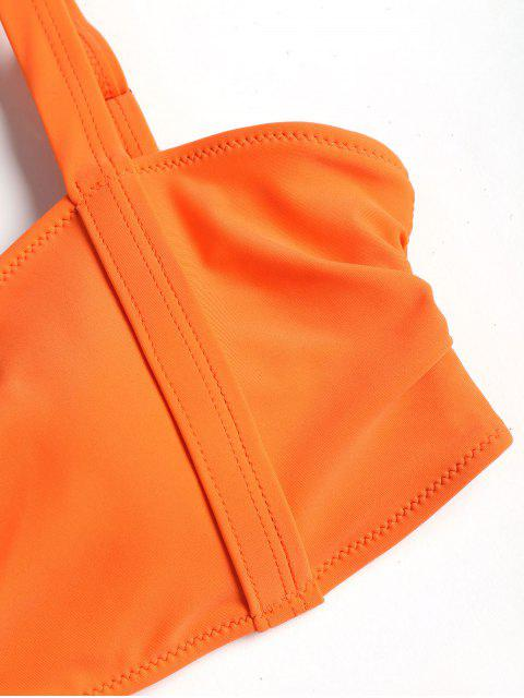 trendy Banded High Leg Bikini Set - MANGO ORANGE M Mobile