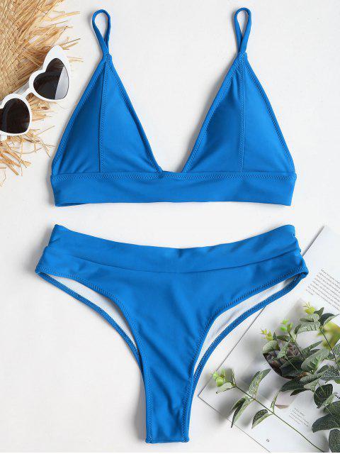Bikini à Dos Lacé à Jambes Hautes - Bleu Ruban L Mobile