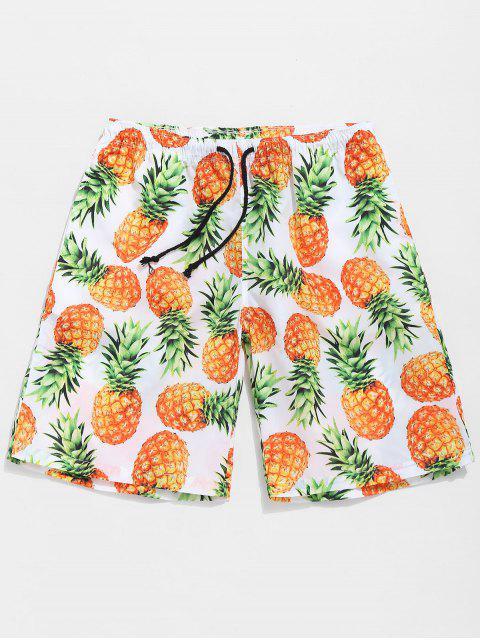 Pantalones cortos de piña casuales - Naranja Oscuro M Mobile