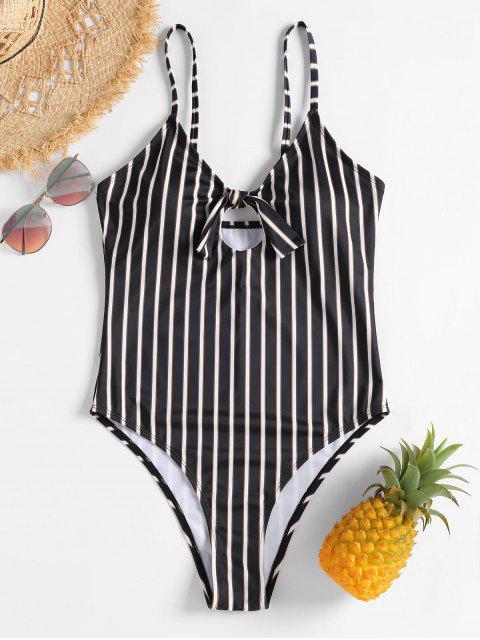 unique Striped Knot High Leg Swimsuit - BLACK L Mobile