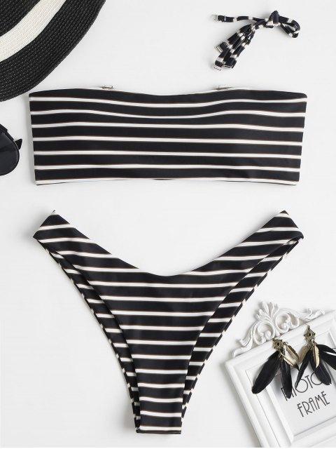Traje de baño de bikini de rayas bandeau - Negro M Mobile
