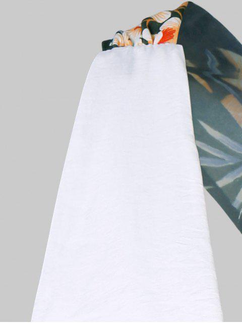 women Leaf Plunging Back Criss Cross Romper - WHITE M Mobile