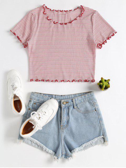 T-shirt Rayé avec Bordure en Laitue - Vin Rouge L Mobile