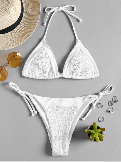 sale Smocked String Bikini - WHITE L Mobile