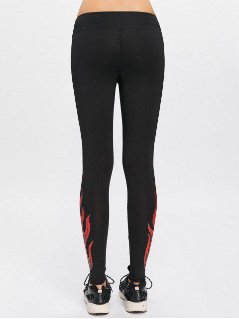 Flame Print Yoga Leggings deportivos - Negro M Mobile