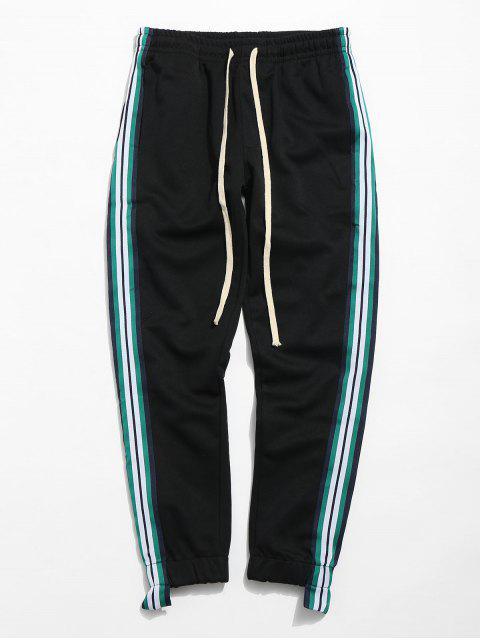 unique Striped Trim Sport Jogger Pants - BLACK M Mobile