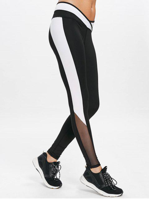 Netz Panel Sport Workout Leggings - Schwarz L Mobile