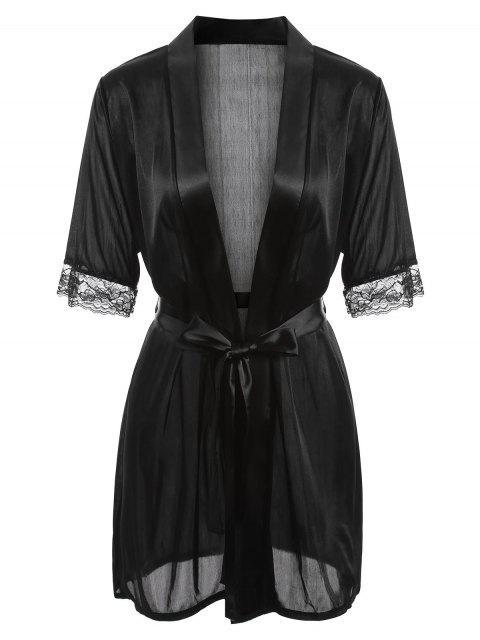 trendy Satin-trim Robe - BLACK L Mobile