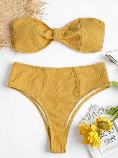 Ribbed Knot High Waisted Bikini Set - Rubber Ducky Yellow S