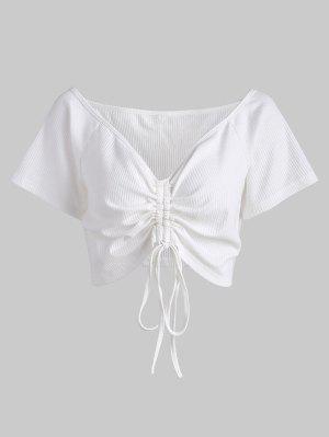 T-shirt Plongeant Froncé Grande Taille