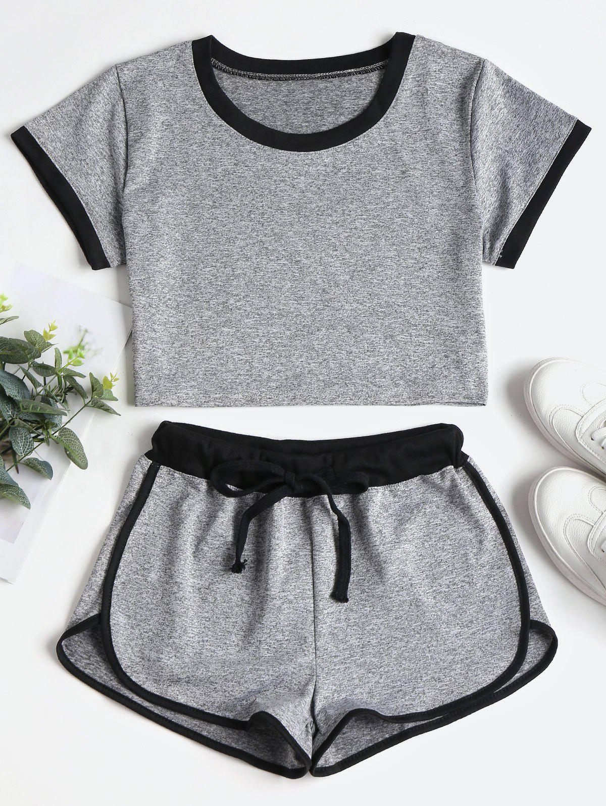 Contrasting Binding Crop Top Shorts Tracksuit фото
