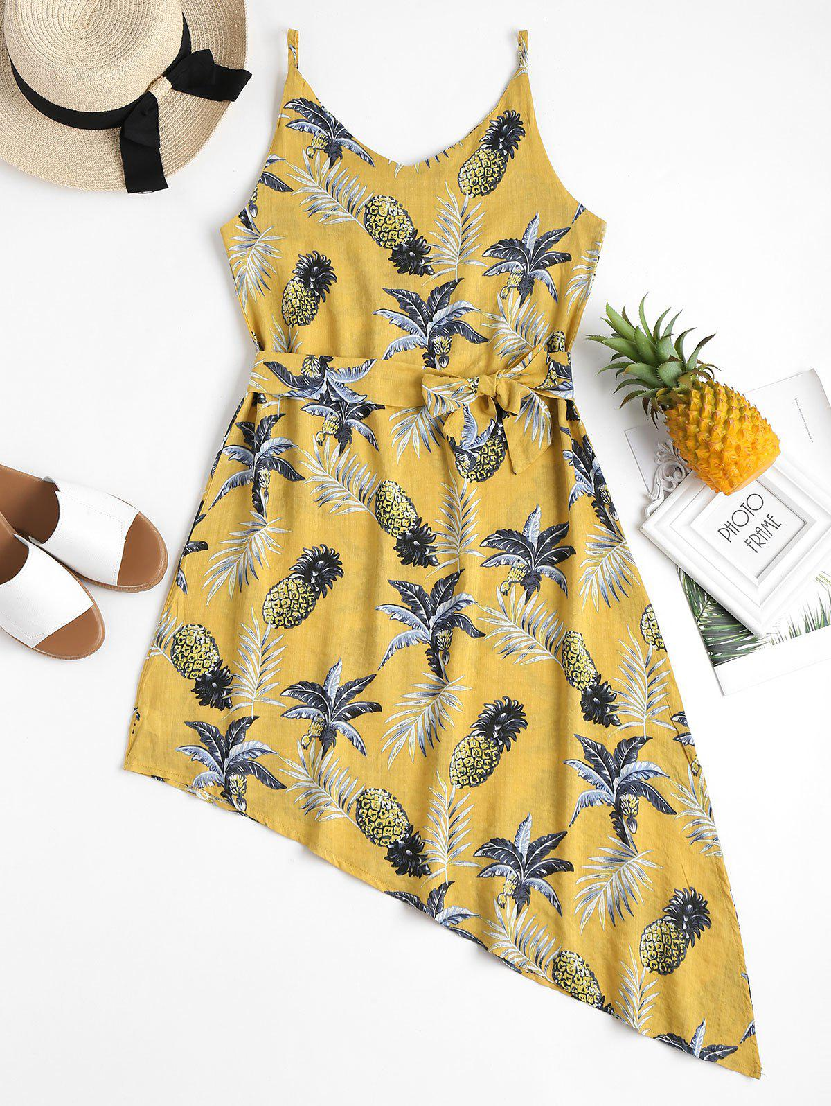 Pineapple Palm Asymmetrical Summer Dress 265795404