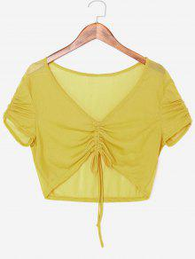 Front Ruched Sheer Crop Top - الحصاد الأصفر S