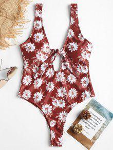 ارتفاع قطع عارية الذراعين الأزهار ملابس السباحة - كستنائي أحمر S