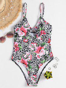 ليوبارد عقدة الأزهار ملابس السباحة - متعدد L
