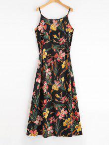 الأزهار ماكسي شاطئ زلة اللباس مع حزام - أسود Xl