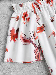 Blanco Parte Posterior Split Hombro L Del Floral 5pnSwXqZ0