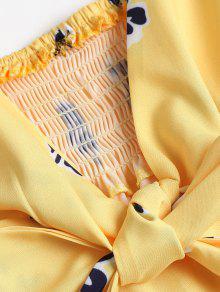 Amarillo Peplum L Brillante Mangas Sin Tie Camiseta Strap w7xX1q8A