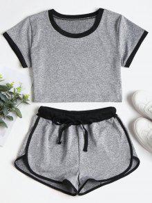 Contraste Cortos Pantalones En Gris Cordones Con S xFAAqTPpw
