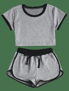 Pantalones En Con S Cordones Gris Cortos Contraste THTxwr7q
