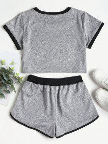 3d22cce5f03 28% OFF] [HOT] 2019 Contrasting Binding Crop Top Shorts Tracksuit In ...