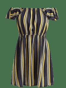 Con A Multicolor S Rayas Vestido Hombros Descubiertos xfw88vP