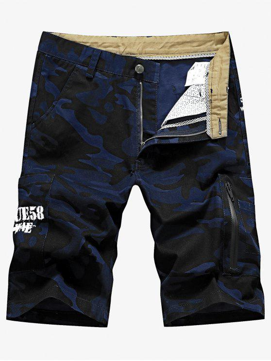 ladies Camo Pocket Cargo Shorts - DENIM DARK BLUE 36