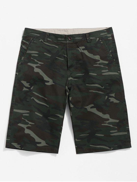 womens Camouflage Casual Shorts - CAMOUFLAGE GREEN 30