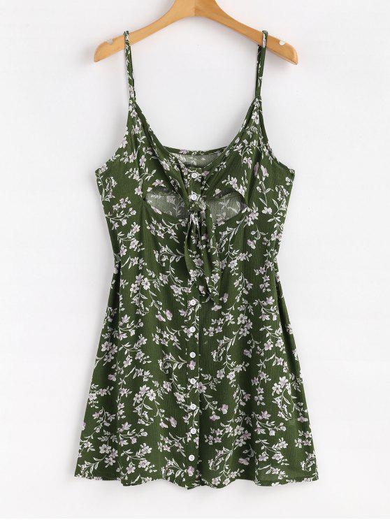 Floral Button Tie Front Mini un vestido de línea - Verde de Jungla  M