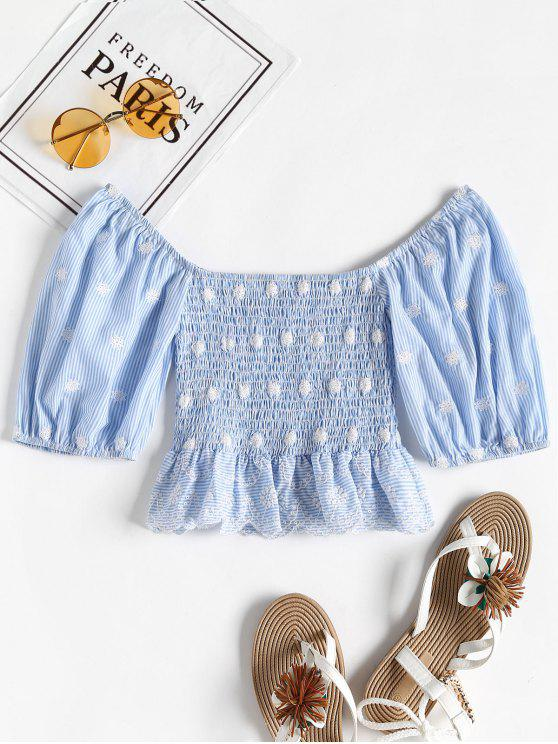 e0ba60b339ed2 31% OFF  2019 Balloon Sleeve Smocked Off The Shoulder Top In DODGER ...