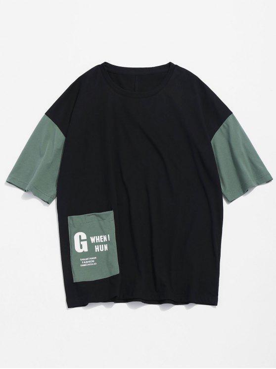 لون كتلة جيب تي - أسود 2XL