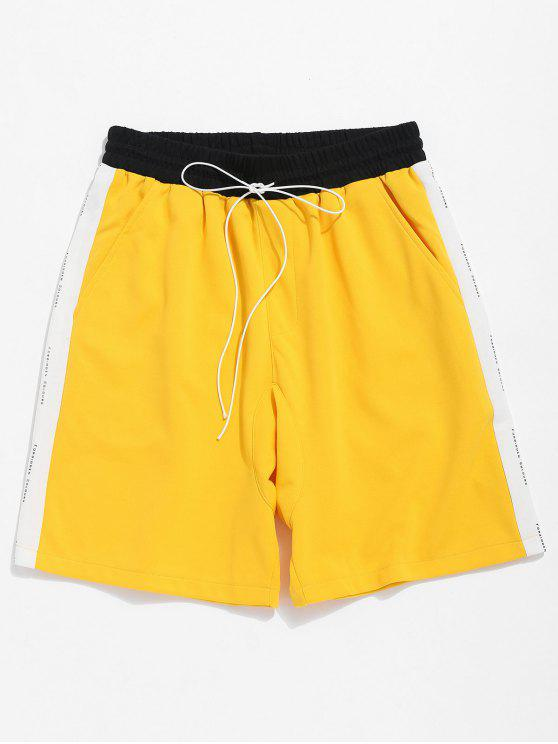 chic Casual Basketball Sport Shorts - YELLOW 2XL