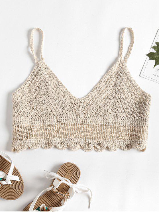 27 Off 2019 Crochet Cami Bralette Crop Top In Apricot Zaful