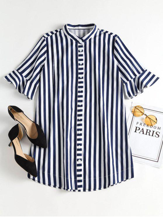 trendy Bell Sleeve Striped Mini Shirt Dress - BLUEBERRY BLUE M