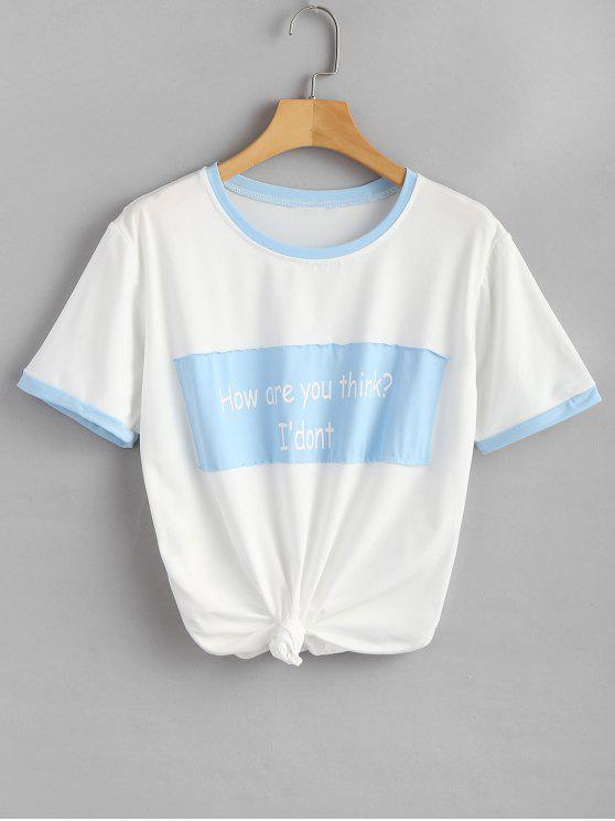 best Text Print Oversized Graphic Tee - BUTTERFLY BLUE 2XL