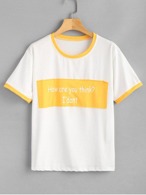 online Text Print Oversized Graphic Tee - YELLOW 2XL