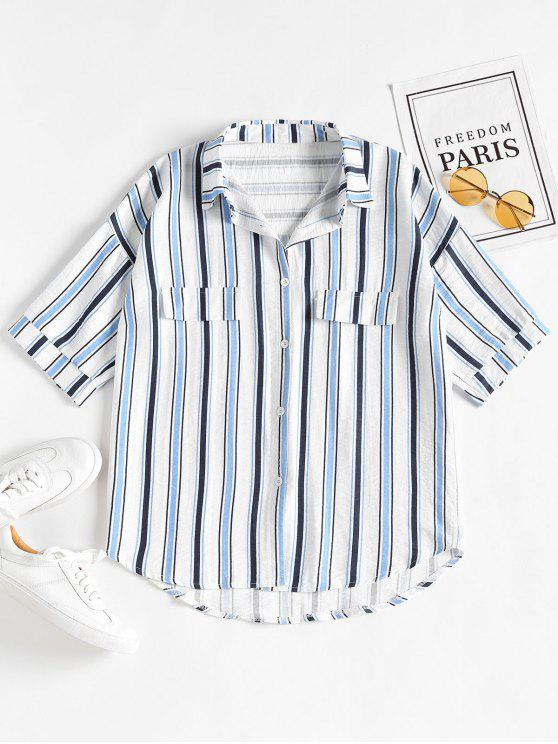 best Casual Striped Boyfriend Oversized Shirt - BLUEBERRY BLUE ONE SIZE