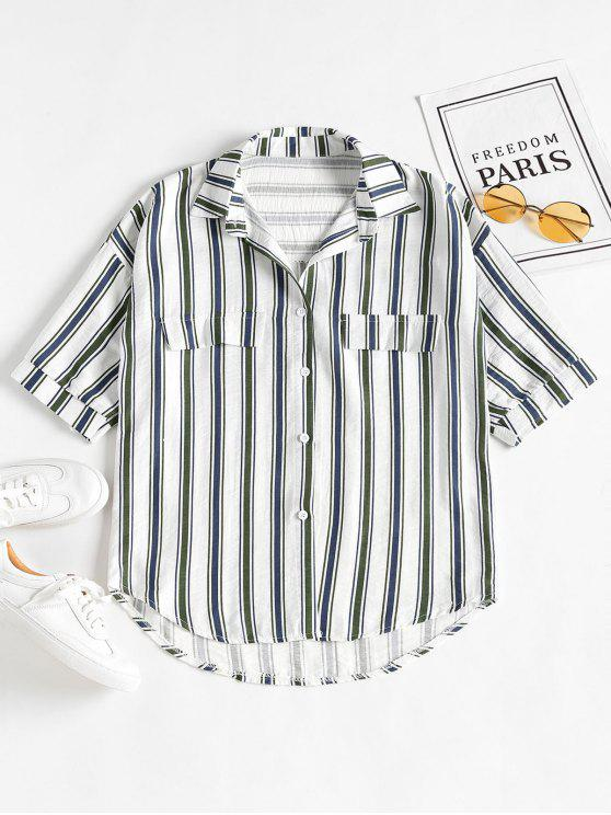 online Casual Striped Boyfriend Oversized Shirt - DARK SEA GREEN ONE SIZE