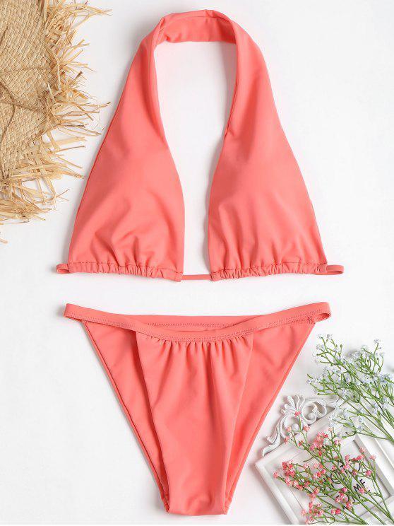 Bikini halter de pierna alta - Sandía Rosa S