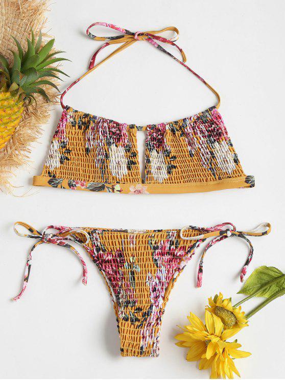 unique Floral Smocked Tie Side Bikini Set - SCHOOL BUS YELLOW M