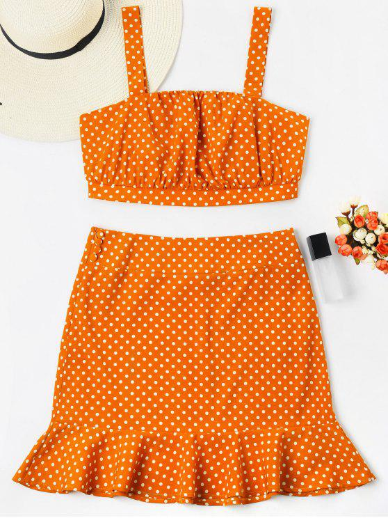 Polka Dot Crop Top mit Fischschwanz Rock - Orange XL