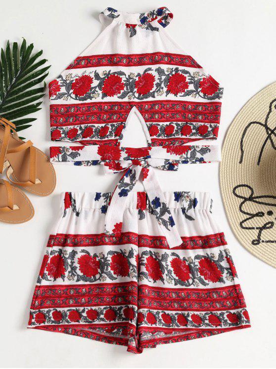 Conjunto de pantalones cortos halter top florales - Blanco M