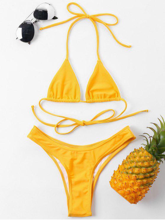 Halter Cheeky Bikini Set - Sonne Gelb L