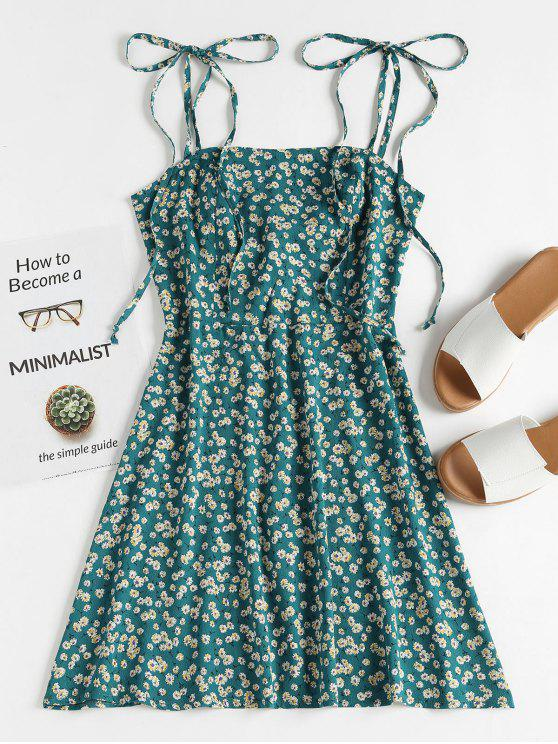 latest Floral Tie Strap Apron Mini Sundress - GREENISH BLUE L