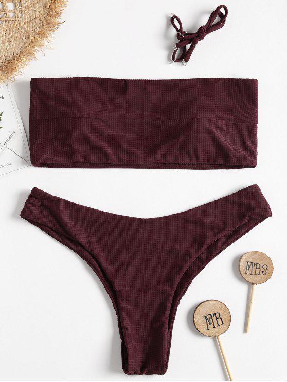 women Textured Bandeau Bikini - RED WINE L
