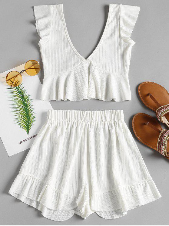 best Ruffle Peplum Top and Shorts Matching Set - WHITE M