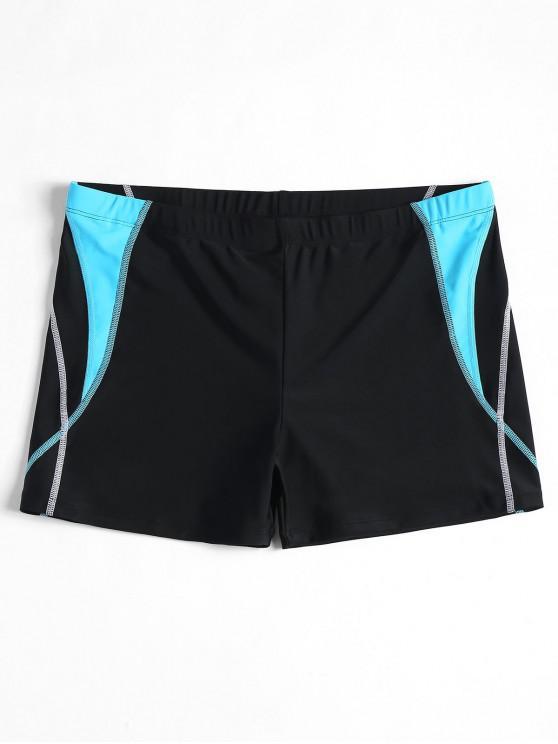 trendy Stitching Color Block Swim Trunks - BLACK M