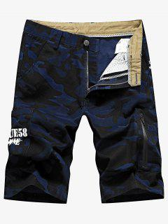 Camo Pocket Cargo Shorts - Denim Dark Blue 32